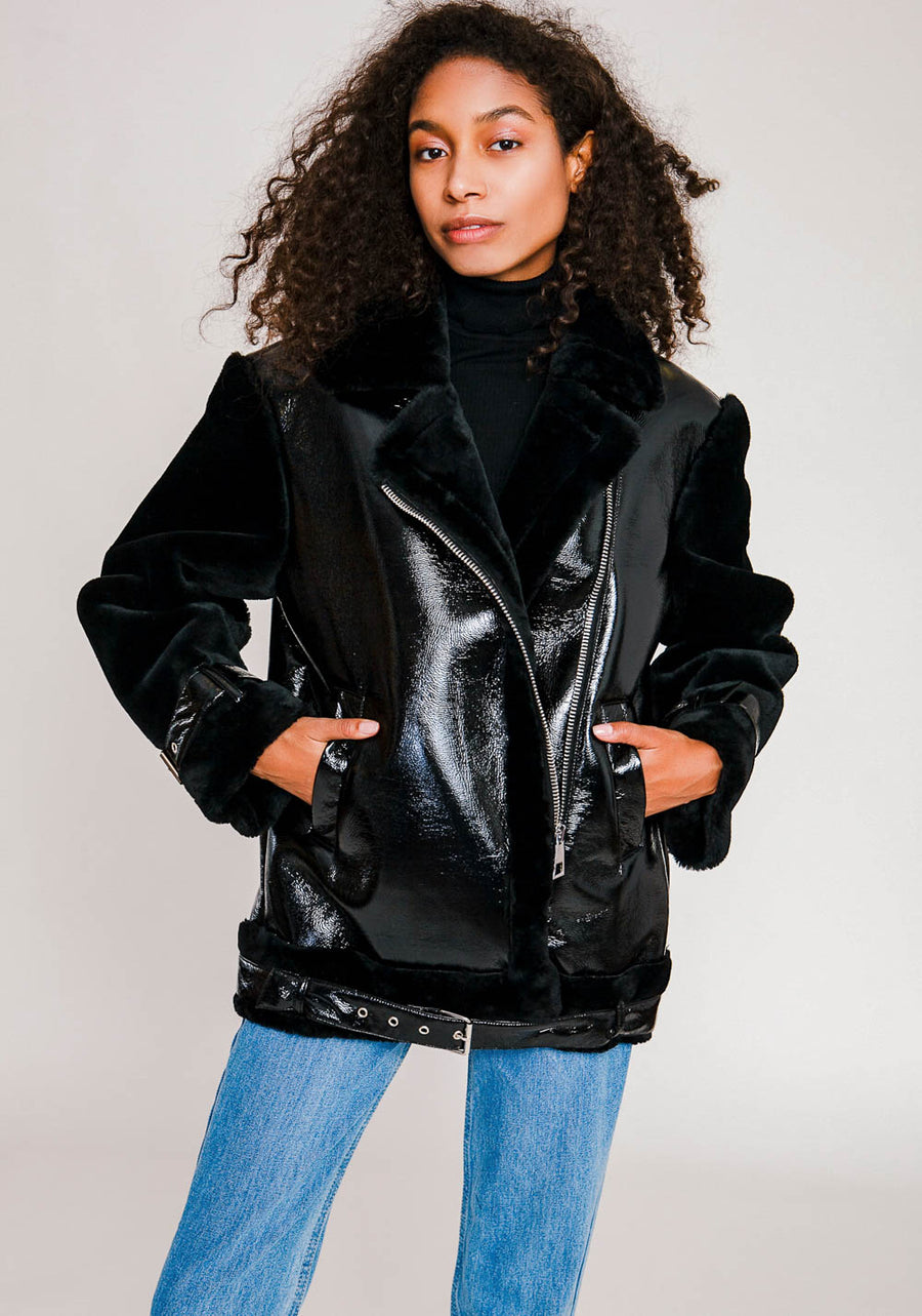 Moonlit Midnight Black Lacquer Faux Fur Jacket