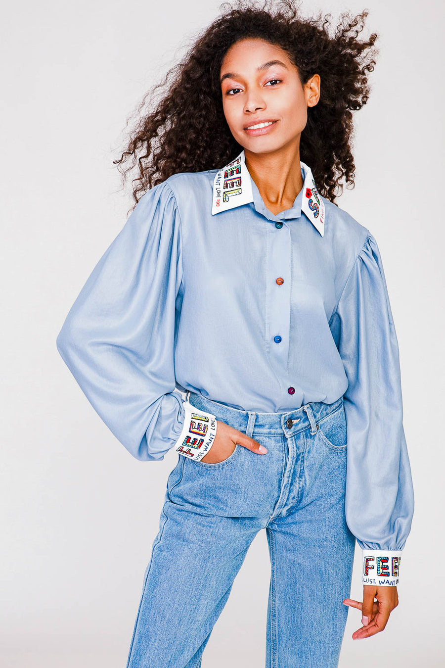 Cloud-light Chambray Sky Shirt With Decor Accents
