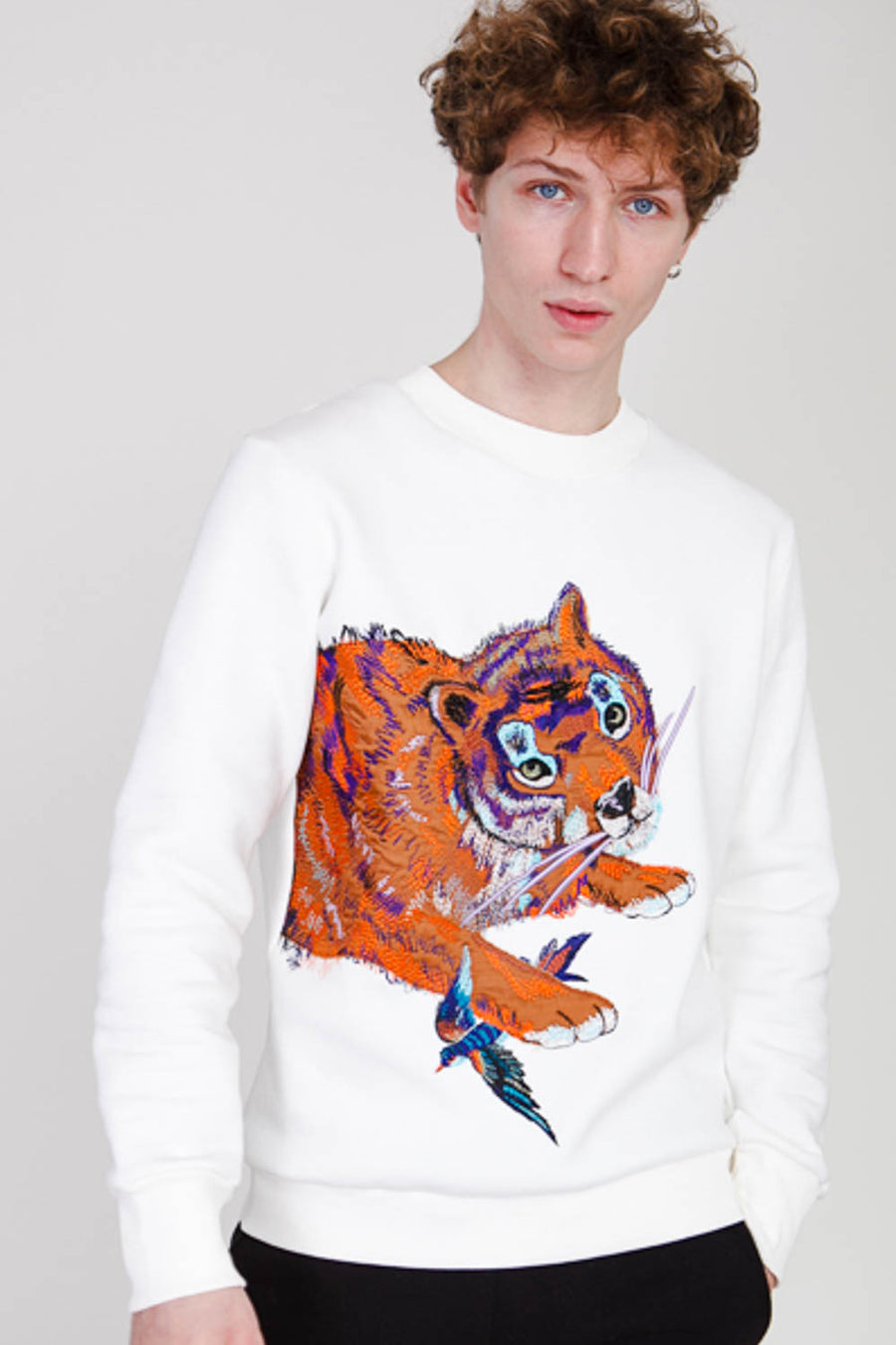 Tiger sweatshirt in Ecru