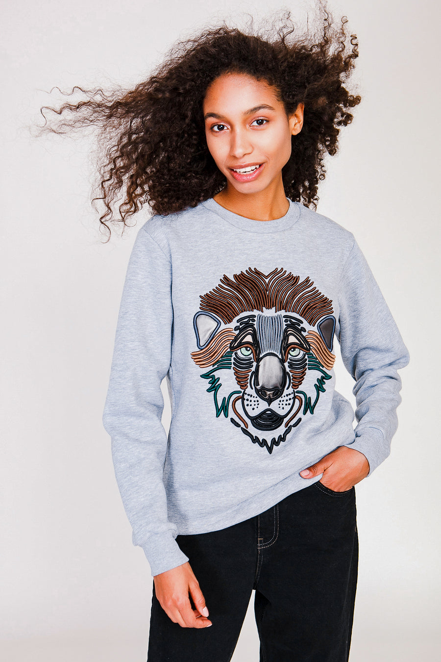 Lion sweatshirt in Melange Gray
