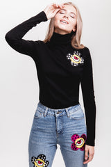Flower Ribbed Turtleneck