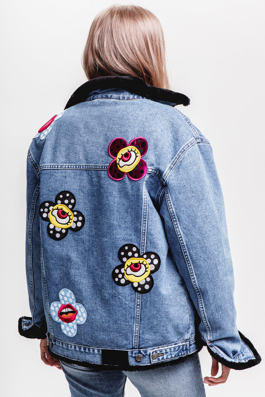 Flower-Eyes Black Eco Fur Denim Jacket