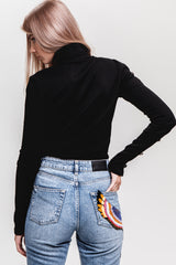 Detailed Cutouts Ribbed Turtleneck