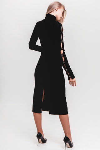 Detailed Cutouts Ribbed Dress