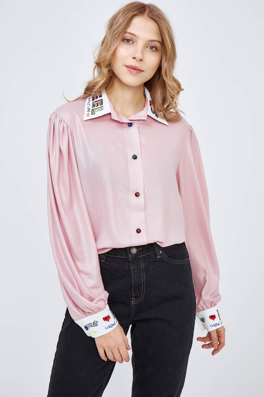 Pink Rose Shirt With Decor Accents