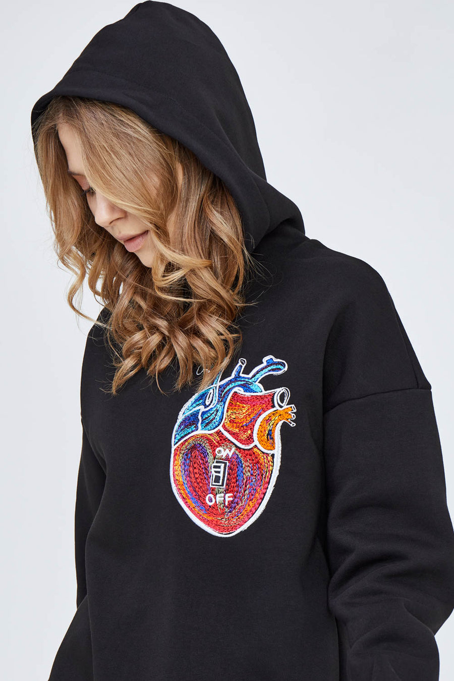 Heart On/Heart Off Hoodie in Classic Black