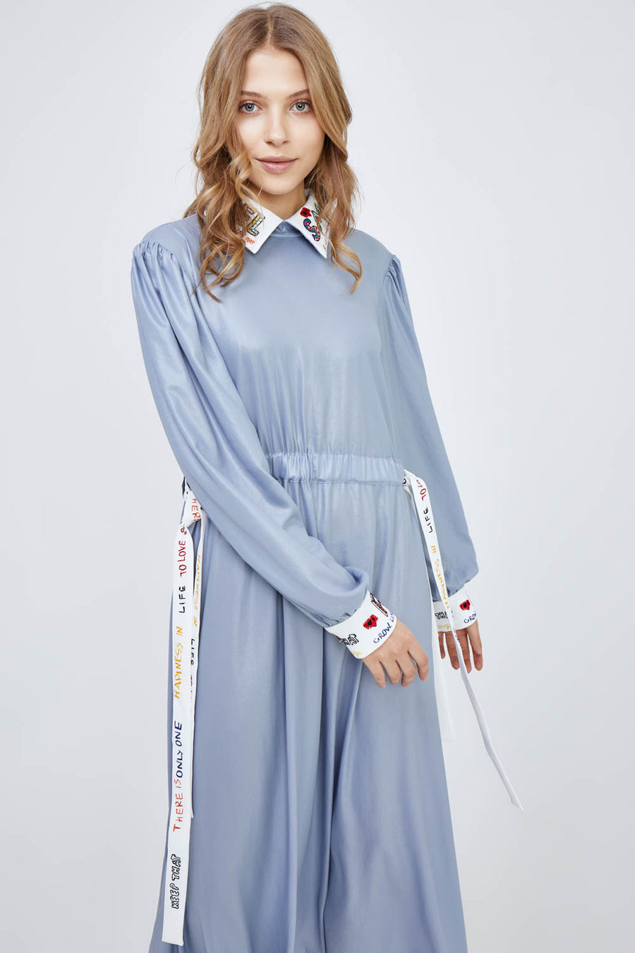 Light-as-air Chambray Sky Midi Dress With Decor Accents