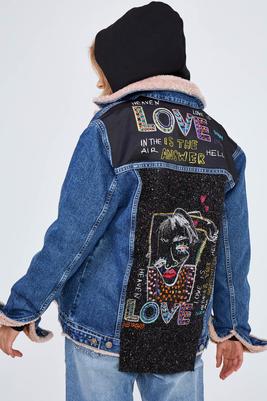 Love Face Faux Fur Denim Jacket