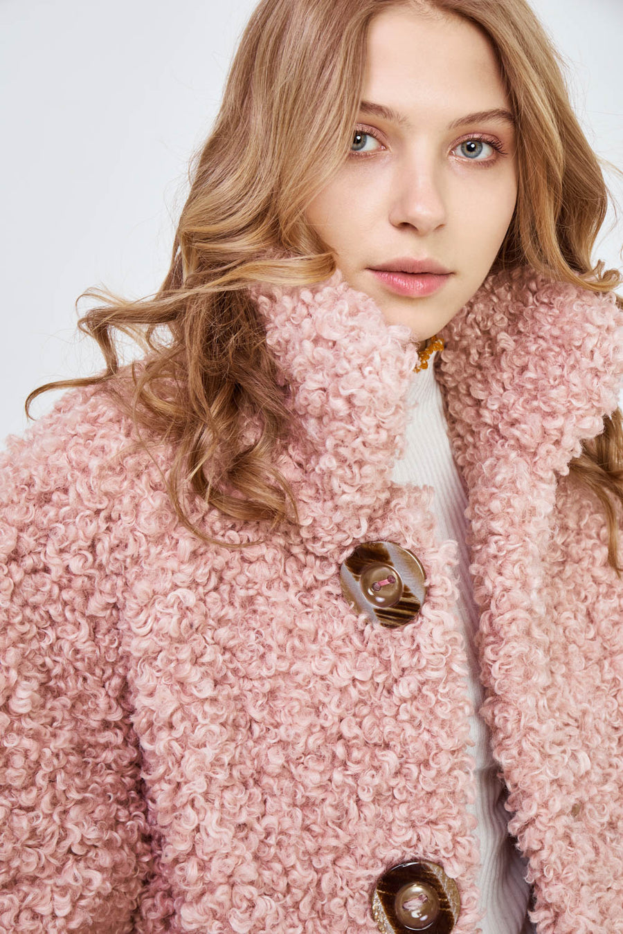 Reversible Faux Sure Fur Coat in Pale Blossom Pink