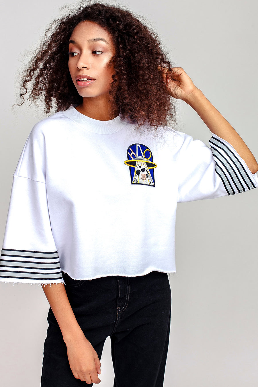 UFO Crop Short Sleeve Sweatshirt