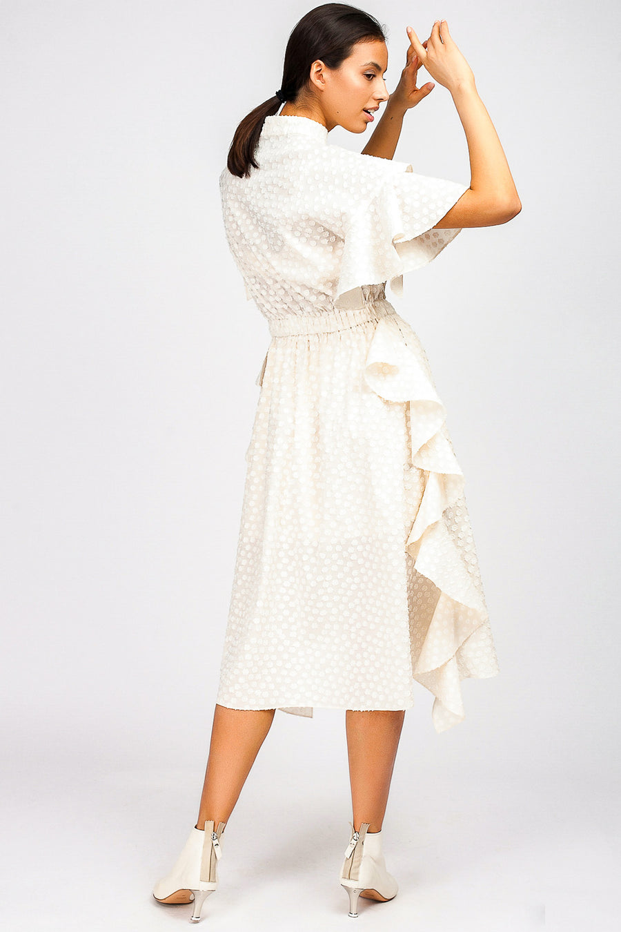 Multi-Space Polka-Dot Ruffle Midi Dress