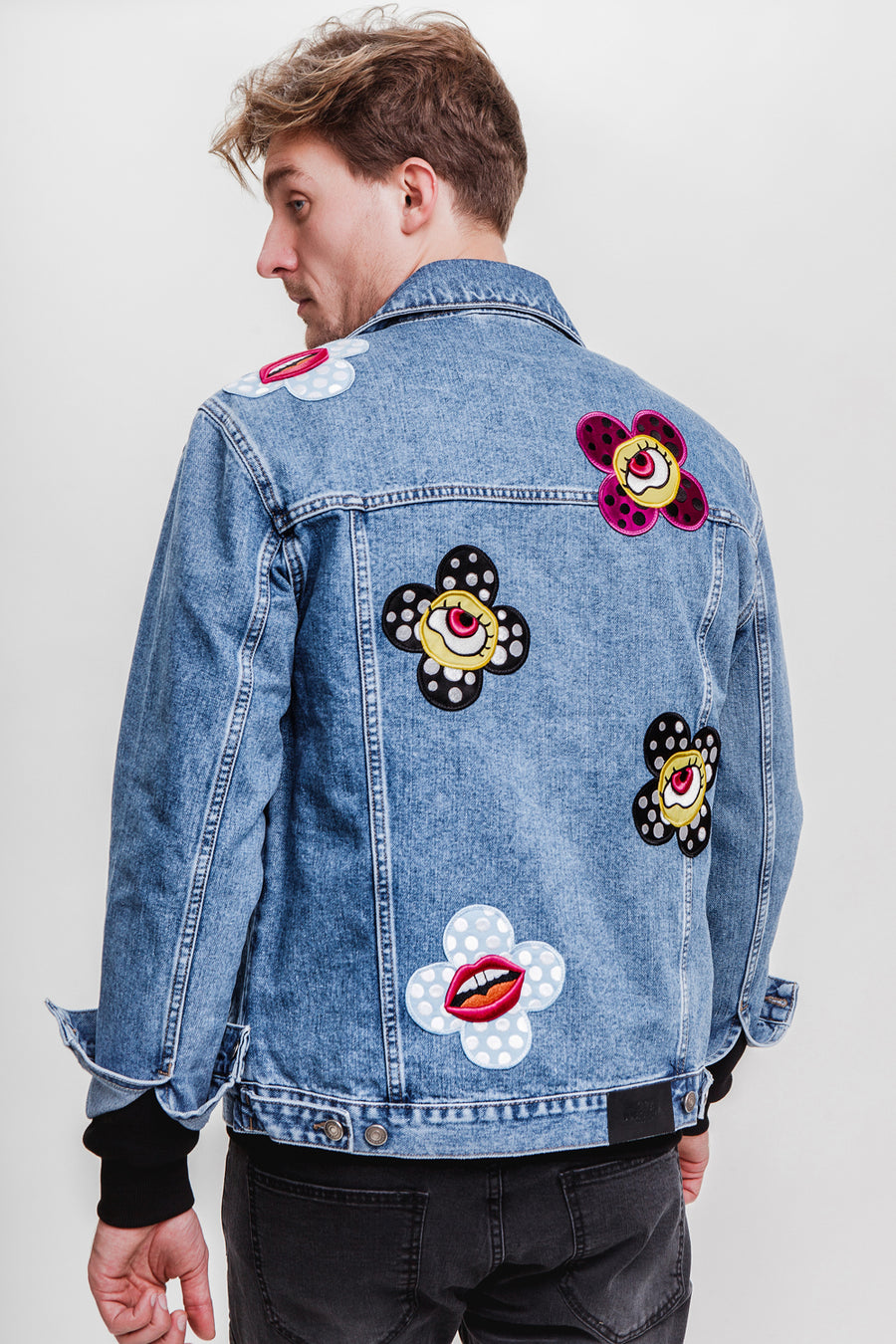 Flower-Eyes Denim Jacket