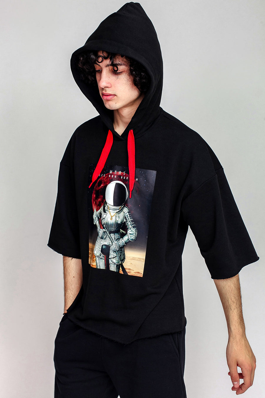 Knight Hooded Short Sleeve Sweatshirt
