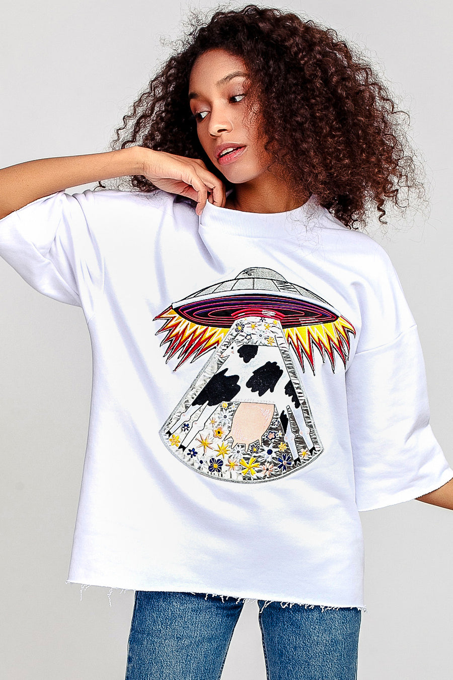 Cow Short Sleeve Sweatshirt