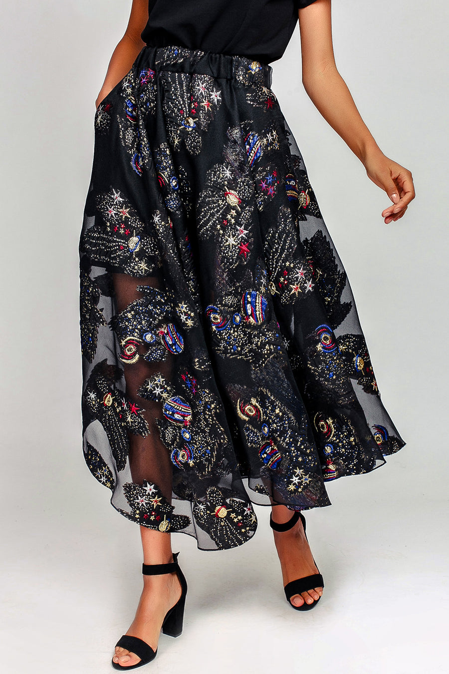 Space Organza Midi Skirt