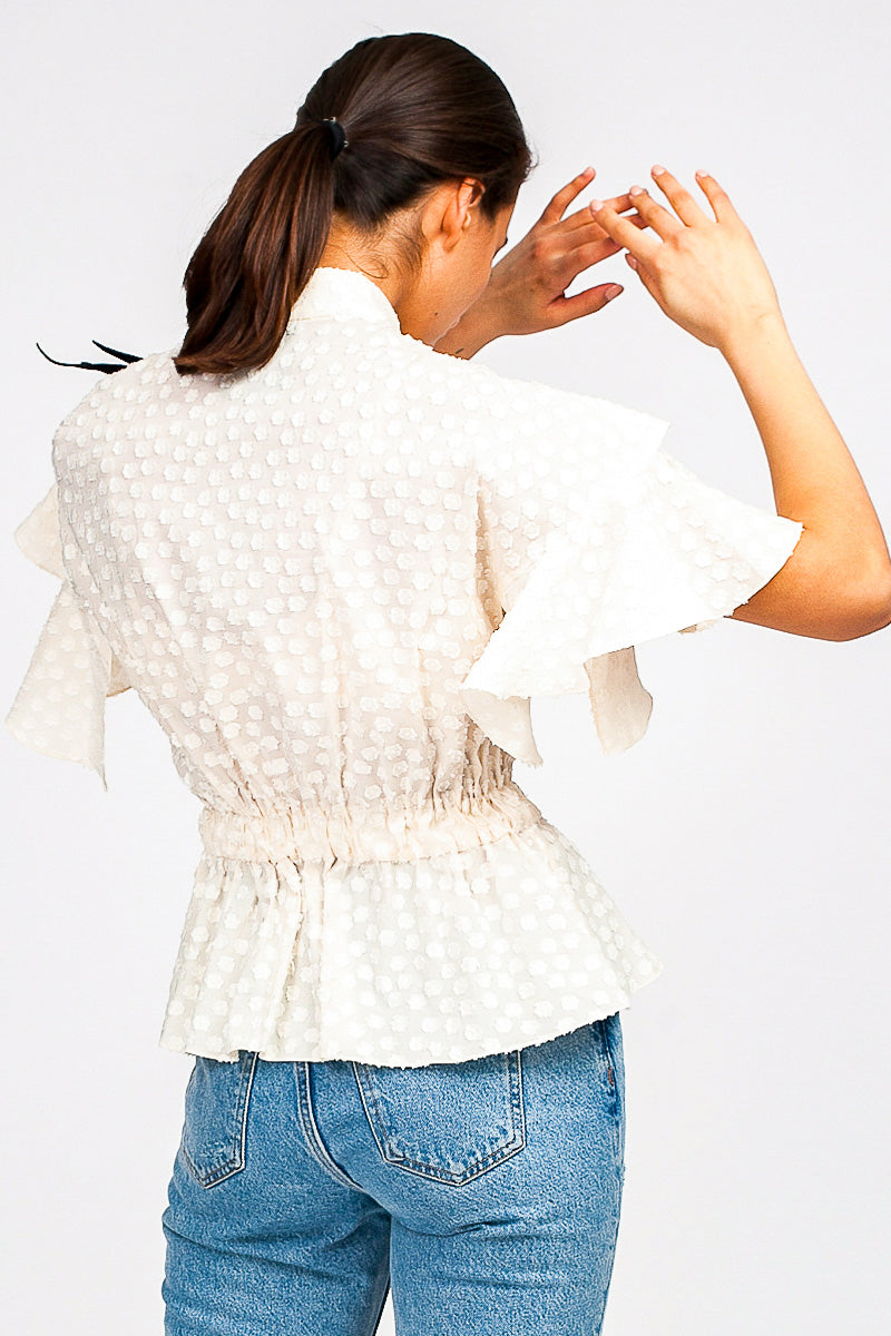 Comet Polka-Dot Ruffled Top