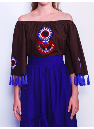 Circles Ornament Off-The-Shoulder Long Top