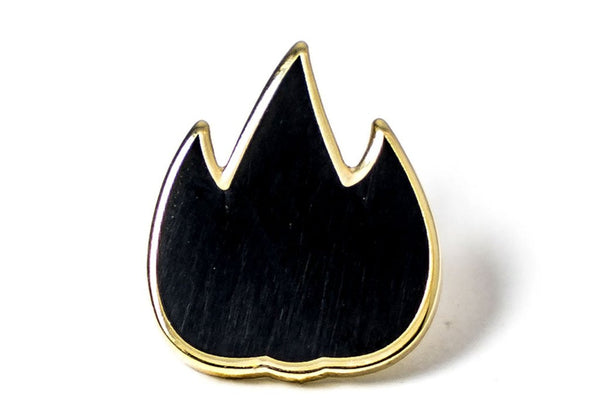 flame emoji pin black with gold