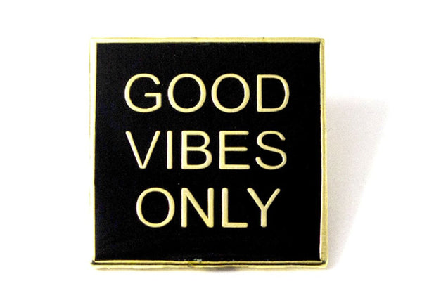 Good Vibes Only pin lapel jean jacket