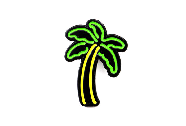 neon palm tree pin