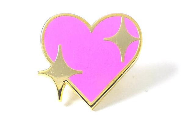 pink heart with stars emoji pin
