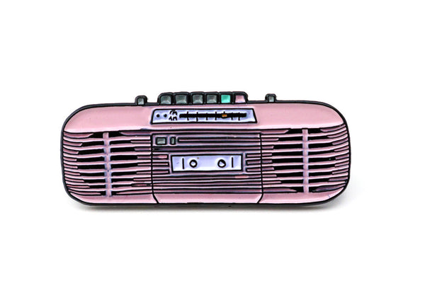 Sharp QT-50 pastel pink boombox pin