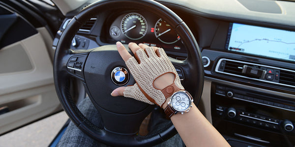 New Men's Locomotive Half-Finger Sheepskin Gloves Knitting Sports Outdoor Cycling Gloves