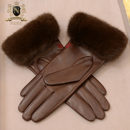 Full-fingered leather gloves Individual fur gloves Cute female otter rabbit fur glovesW-154