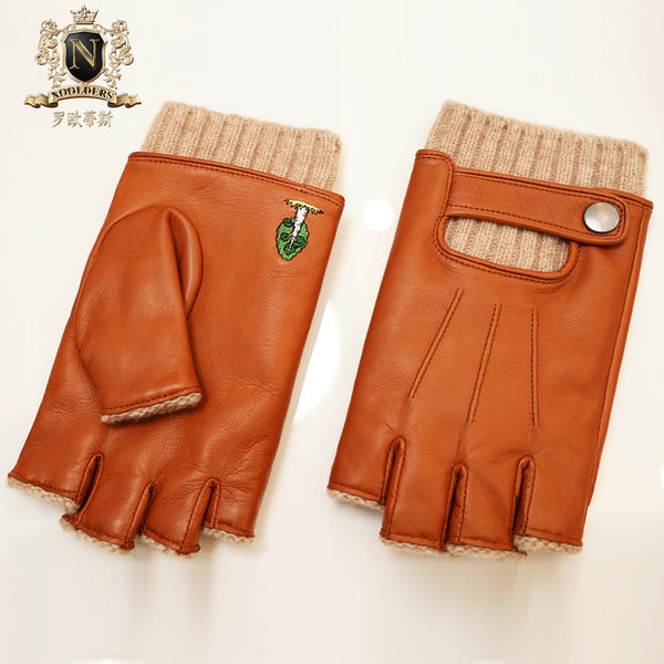 Privately customized series of men's half-fingered sheepskin glovesM-56.1
