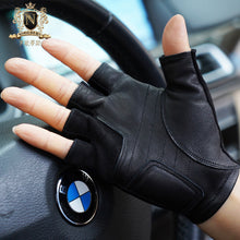 Men's cycling driving gloves anti-skid anti-fall bicycle driving half-fingered leather gloves for menM-104