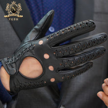 Touch Screen Men's Gloves Winter Leather Gloves Men's Ultra-thin Single Leather Knitting Locomotive Driving Motorcycle Riding GlovesM-107