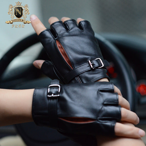 Black men's fingerless driving leather glovesM-19