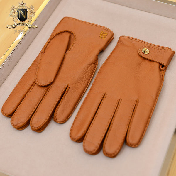 Men's high quality hand-sewing fashion Finland deerskin glovesM-76.1