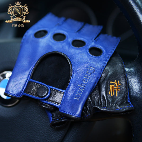 Privately Customized Series Italian Imported Lambskin Handmade Craftsmanship Men's Locomotive Driving Leather GlovesM-102.1
