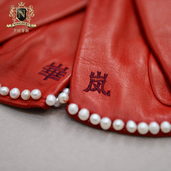 Privately customized series of light and luxurious natural pearl decoration Italian imported NAPPA lambskin lady's short leather glovesW-189.1