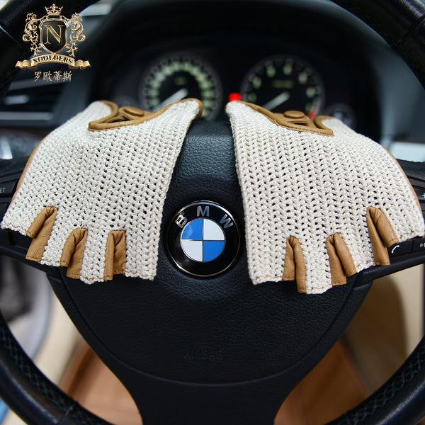 New Men's Locomotive Half-Finger Sheepskin Gloves Knitting Sports Outdoor Cycling GlovesM-61.1