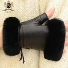 New Leather Gloves, Individual Fur Gloves, Cute Girl Rex Rabbit Hair Typing and Finger Cutting GlovesW-102