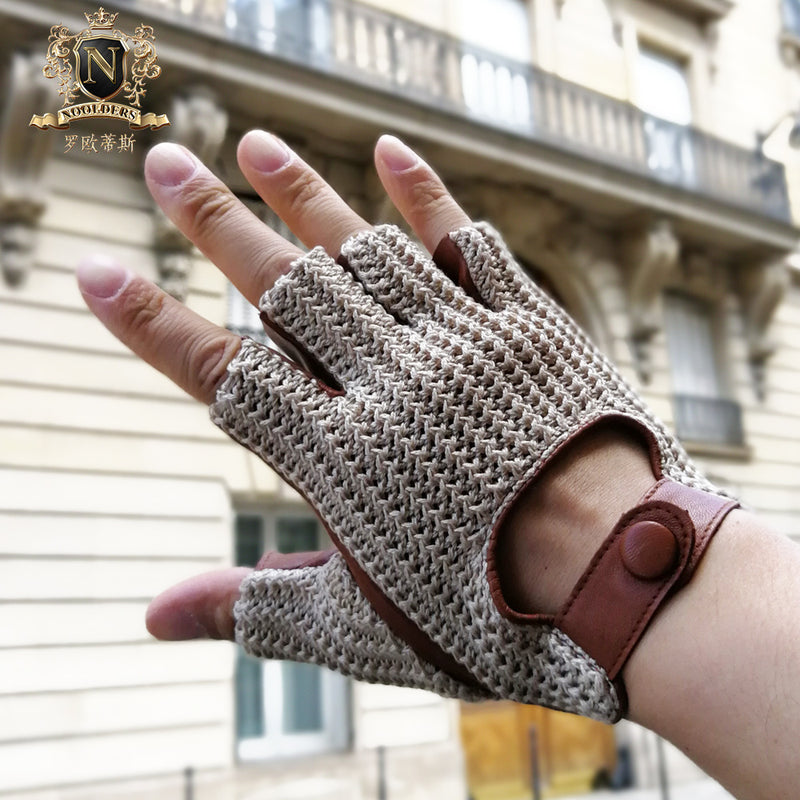 New Men's Locomotive Half-Finger Sheepskin Gloves Knitting Sports Outdoor Cycling GlovesM-61