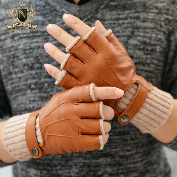 Men's half-fingered sheepskin glovesM-56