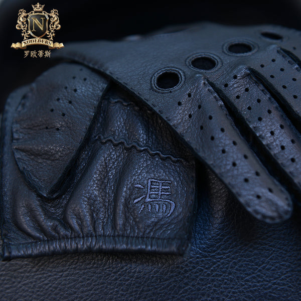 Privately customized series of craftsmanship-grade Collection Edition of pure manual sewing men's imported deerskin locomotive glovesM-55.1