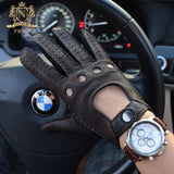 New Fall and Winter Men's Deerskin Gloves Retro Motorcycle Gloves Sports Harley Motorcycle Leather GlovesM-55