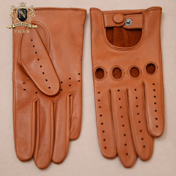 Privately Customized Series Punk Wind Italian Imported NAPPA Lambskin Lady Locomotive Sports Driving Leather GlovesW-204.1