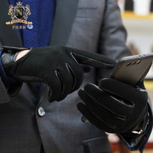 Leather gloves Men's winter warm leather gloves Riding motorcycle thin perforated touch screen sheepM-106skin gloves