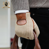 Men's touch screen leather gloves knitted back thin skid-proof motorcycle leather gloves in autumn and winterM-109