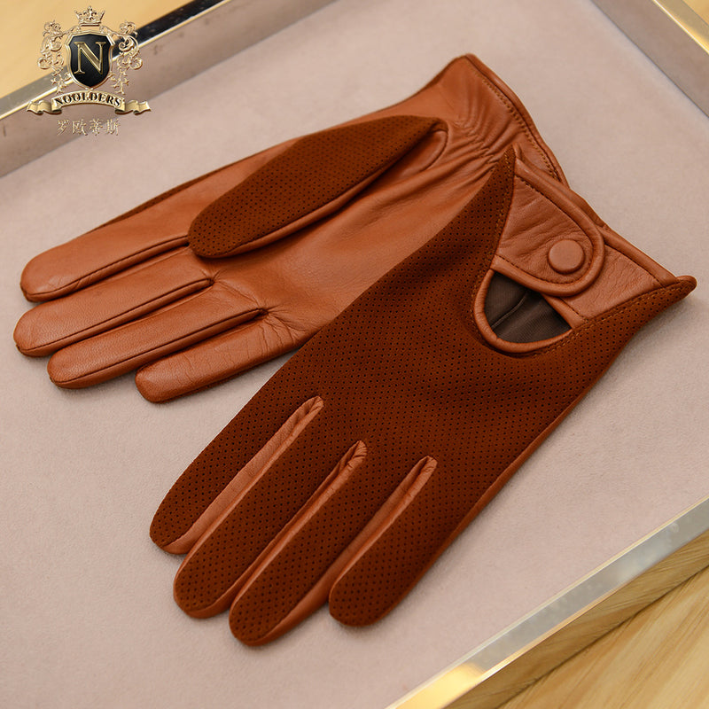 Private custom-made series of perforated breathable men's driving dermal glovesM-23.1