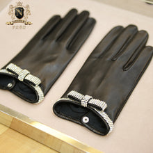 Privately customized series of elegant fragrance bow diamond jewelry imported from Italy NAPPA lambskin lady leather glovesW-153.1