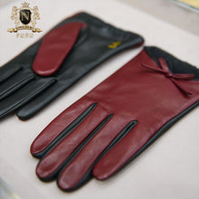 Privately customized series of exquisite bow decoration Italian imported NAPPA lambskin lady leather glovesW-156.1