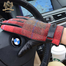 British retro Harris tweed men's winter Plush thicker thermal touch screen leather glovesM-62