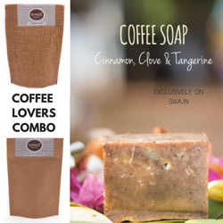NEEMLI COFFEE LOVERS COMBO- COFFEE SCRUB SMALL- COFFEE AND COCOA FACE MASK / BODYWRAP- COFFEE EXFOLIANT SOAP