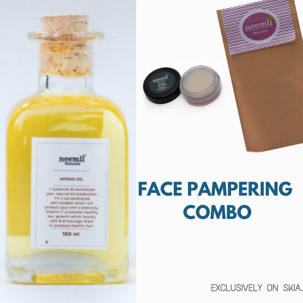 NEEMLI FACE PAMPERING COMBO- FOUR CLAY FACE MASK/BODYWRAP- COCONUT LIP BALM- COLD PRESSED ARGAN OIL